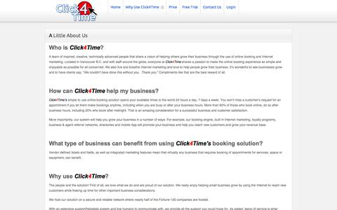 Screenshot of About Page click4time.com - About us - captured Sept. 19, 2014