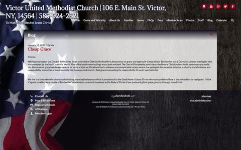Screenshot of Blog victorumc.org - Victor United Methodist Church | 106 E. Main St. Victor, NY, 14564 | 585-924-2621 - Blog - captured July 2, 2018