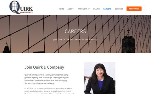 Screenshot of Jobs Page quirkco.com - Careers at Quirk Insurance - captured Sept. 30, 2018