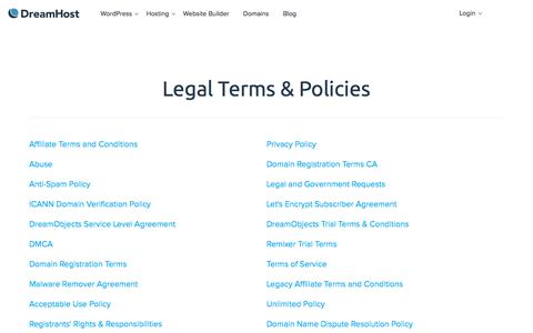 Screenshot of Terms Page dreamhost.com - Legal - DreamHost - captured Dec. 24, 2017