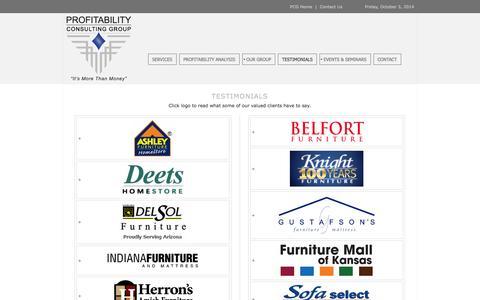 Screenshot of Testimonials Page profitabilityconsulting.com - Profitability Consulting Testimonials - captured Oct. 3, 2014