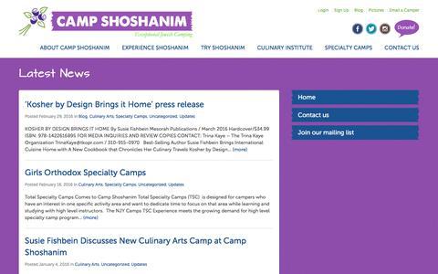Screenshot of Blog campshoshanim.org - Blog - Camp Shoshanim - captured March 12, 2016