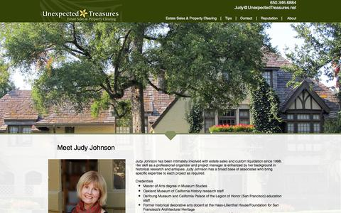 Screenshot of About Page unexpectedtreasures.net - unexpectedtreasures   Meet Judy - captured June 11, 2017