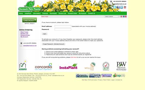 Screenshot of Login Page kernock.co.uk - Kernock Park Plants Login - captured Oct. 6, 2014