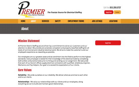 Screenshot of About Page premierelectricalstaffing.com - Electrical Staffing Agency North Carolina | Georgia | Florida - captured Oct. 2, 2014