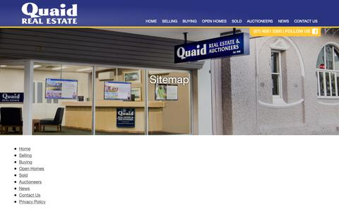 Screenshot of Site Map Page quaid.com.au - Sitemap | Quaid Real Estate | Buy | Sell | Houses | Apartments | Land - captured Sept. 28, 2018