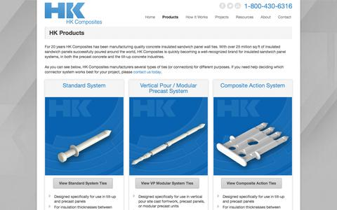 Screenshot of Products Page hkties.com - HK Ties  Insulated Concrete Sandwich Panel System Materials | HK Ties - captured Sept. 26, 2018
