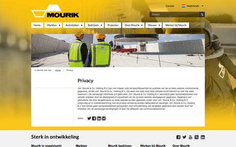 Screenshot of Privacy Page mourik.com - Privacy - captured Oct. 2, 2014