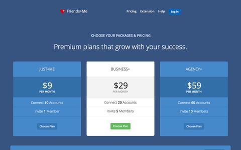 Screenshot of Pricing Page friendsplus.me - Pricing - Friends+Me - captured Oct. 2, 2015