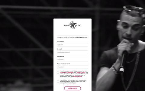 Screenshot of Signup Page famemusic.com - Register - captured Feb. 9, 2016