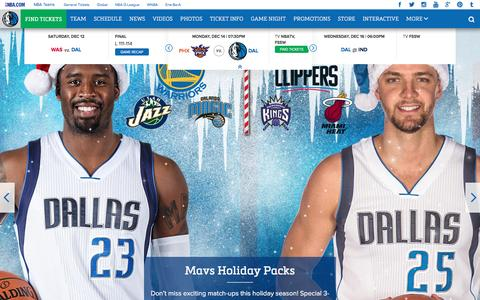 Screenshot of Home Page mavs.com - Home - Official Website of the Dallas Mavericks - captured Dec. 14, 2015