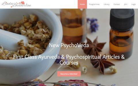 Screenshot of Home Page lindabretherton.com - A Psychoveda Lifestyle Portal for Women and Men - captured Feb. 1, 2016