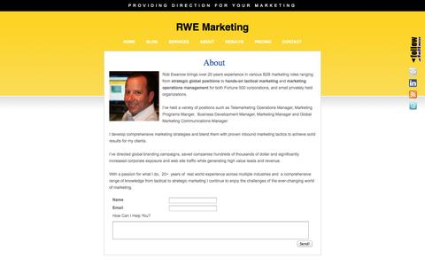 Screenshot of About Page rwemarketing.com - About RWE Marketing Coaching Services   Customized Marketing Coaching Services - captured Oct. 7, 2014