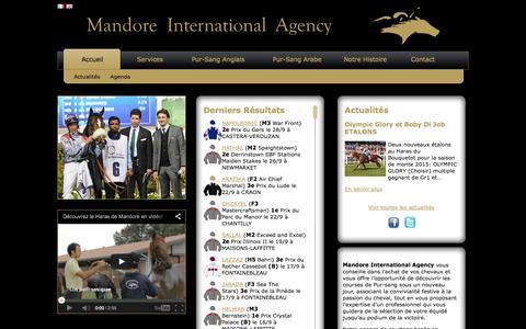 Screenshot of Home Page mandore-agency.com - Accueil - Mandore Agency - Nicolas DE WATRIGANT - captured Oct. 1, 2014