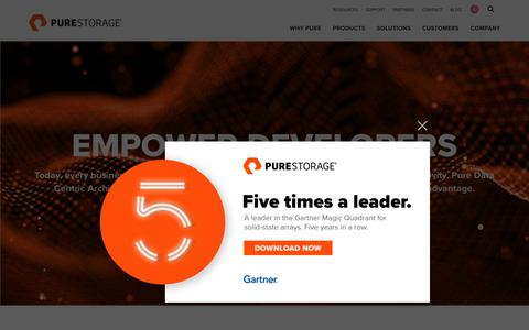 Screenshot of Developers Page purestorage.com - Empower DevOps: Continuous Integration & Delivery (CI/CD) Tools | Pure Storage - captured Aug. 18, 2018