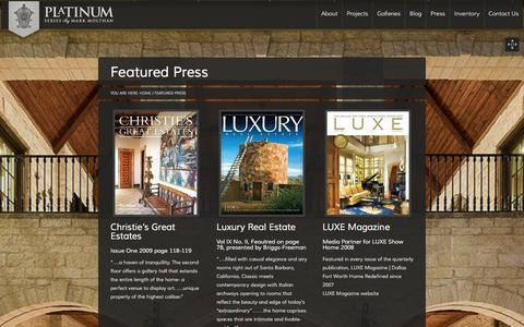 Screenshot of Press Page platinumserieshomes.net - Featured Press - Platinum Series Homes by Mark Molthan - captured Jan. 28, 2016