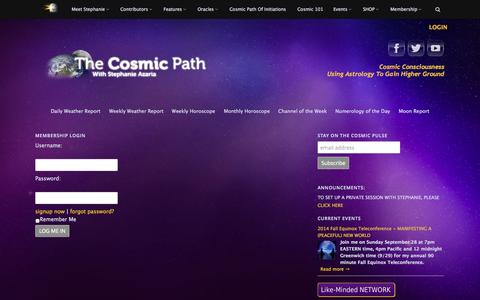 Screenshot of Login Page thecosmicpath.com - The Cosmic Path | login - captured Sept. 22, 2014