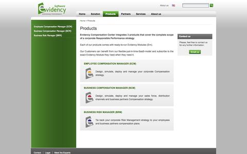 Screenshot of Products Page evidency.com - Products | Evidency - captured Oct. 3, 2014