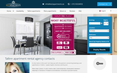Screenshot of About Page Contact Page bestapartments.ee - Tallinn apartment rental agency - Best Apartments contacts - captured Jan. 15, 2016