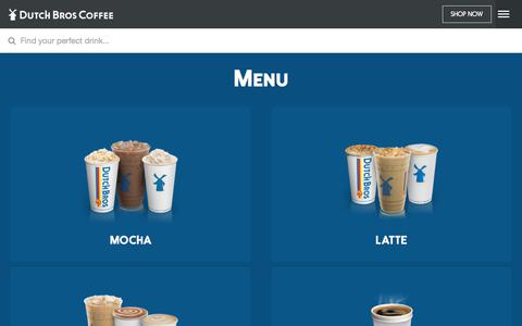 Screenshot of Menu Page dutchbros.com - Dutch Bros | Menu - captured Nov. 24, 2017