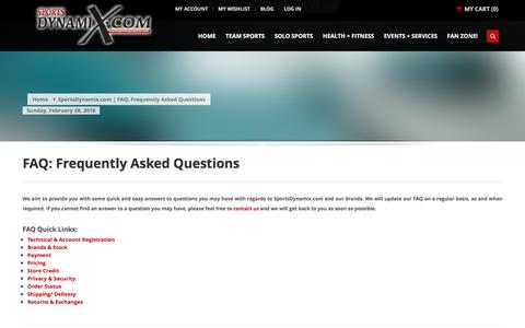 Screenshot of FAQ Page sportsdynamix.com - SportsDynamix.com | FAQ: Frequently Asked Questions - captured Feb. 27, 2016