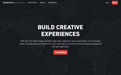Screenshot of Developers Page shutterstock.com - Shutterstock Developer Portal   Home Landing page - captured Nov. 17, 2017