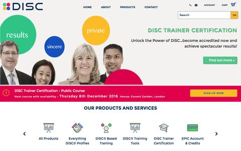 Screenshot of Home Page discassessment.co.uk - DiSC Assessment - Discover your DiSC Personality Profile - captured Nov. 24, 2016