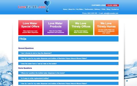 Screenshot of FAQ Page lovewater.com - FAQs - Love Water - captured Oct. 3, 2014