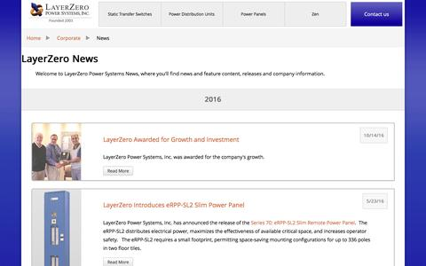 Screenshot of Press Page layerzero.com - LayerZero Power Systems News - captured Nov. 1, 2016