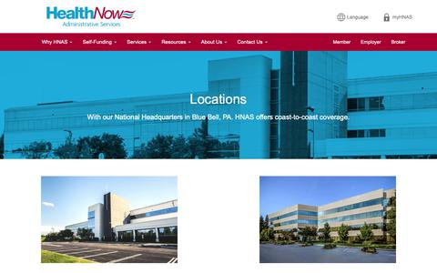 Screenshot of Locations Page hnas.com - Our Locations - Contact Us | HealthNow Administrative Services - captured Sept. 27, 2018