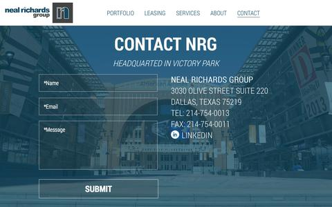 Screenshot of Contact Page nealrichardsgroup.com - Contact - Neal Richards Group - captured Oct. 7, 2014