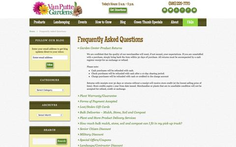 Screenshot of FAQ Page vanputte.com - Frequently Asked Questions | Van Putte Gardens - captured Jan. 30, 2016