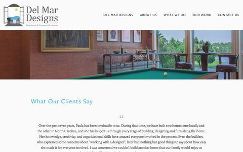 Screenshot of Testimonials Page delmardesignspv.com - Testimonials — Del Mar Designs - captured Nov. 24, 2016