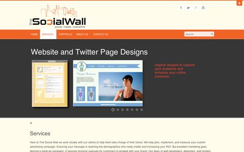 Screenshot of Services Page social-wall.com - Services | The Social Wall - captured Oct. 9, 2014