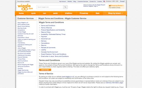 Screenshot of Terms Page wiggle.com - Wiggle Customer Services - captured Oct. 31, 2014