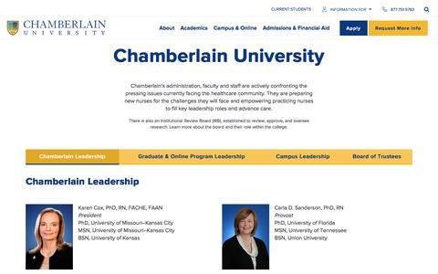 Screenshot of Team Page chamberlain.edu - Leadership | Chamberlain University - captured Oct. 6, 2019