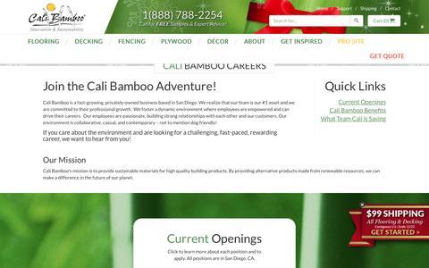 Screenshot of Jobs Page calibamboo.com - Cali Bamboo Careers - CaliBamboo GreenShoots - captured Dec. 18, 2015