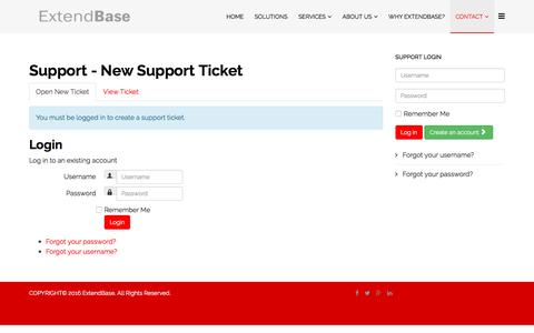 Screenshot of Support Page extendbase.com - Support - New Support Ticket - captured April 30, 2017