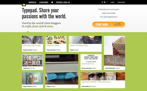 Screenshot of Home Page Blog typepad.com - Typepad. Share your passions with the world. | Typepad - captured Sept. 19, 2014