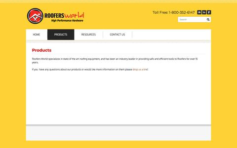 Screenshot of Products Page roofersworld.com - Products - Roofers World Inc. - captured Sept. 21, 2018