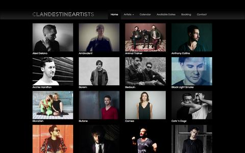 Screenshot of Home Page clandestine-artists.com - Clandestine Artists - captured Sept. 29, 2014