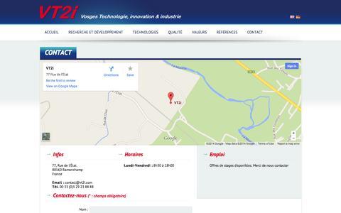 Screenshot of Contact Page vt2i.com - Contact | VT2I - captured Oct. 7, 2014