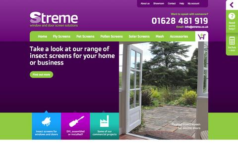 Screenshot of Home Page streme.co.uk - Window & Door Screens | Streme - captured Oct. 7, 2014