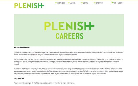 Screenshot of Jobs Page plenishcleanse.com - Careers - captured Jan. 22, 2016