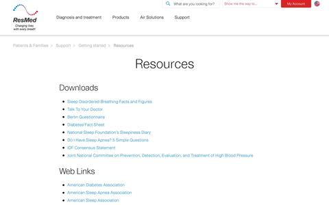 Screenshot of Support Page resmed.com - Sleep apnea resources, including websites and PDFs to audio and video files | ResMed - captured Dec. 30, 2017