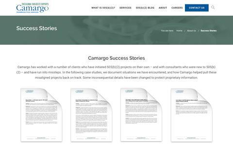 Screenshot of Case Studies Page camargopharma.com - 505(b)(2) Client Success Stories   Camargo - captured Sept. 26, 2018