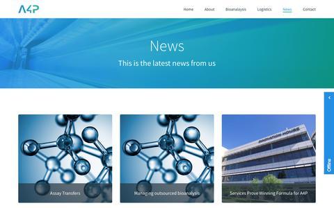 Screenshot of Press Page a4pbio.com - A4p Bio - News - captured Oct. 6, 2017