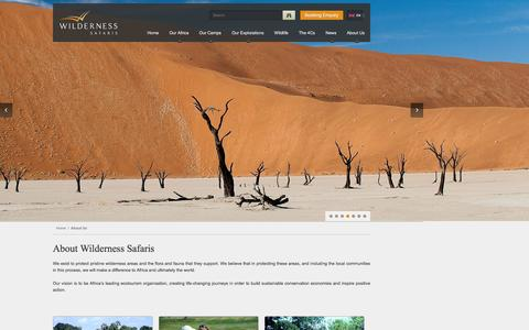 Screenshot of About Page wilderness-safaris.com - More information on Wilderness Safaris - captured Feb. 19, 2016