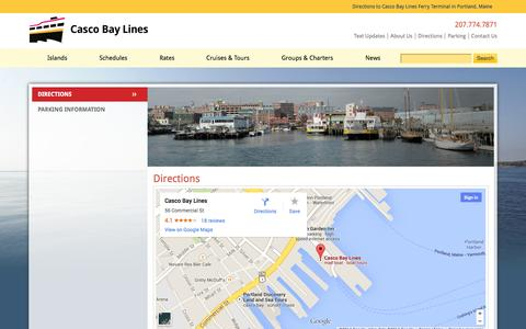 Screenshot of Maps & Directions Page cascobaylines.com - Directions to Casco Bay Lines Ferry Terminal - Portland, Maine - captured Sept. 22, 2014