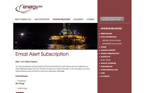 Screenshot of Signup Page energyxxi.com - Energy XXI - Email Alert Subscription - captured Jan. 8, 2016